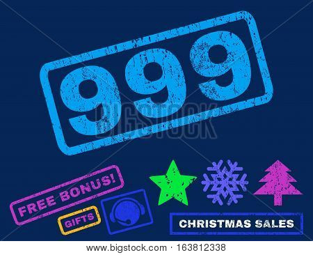 999 text rubber seal stamp watermark with bonus new year symbols. Caption inside rectangular banner with grunge design and scratched texture.
