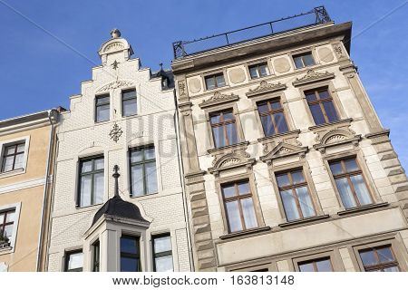 Renovated historic houses in the town of Goerlitz, Germany