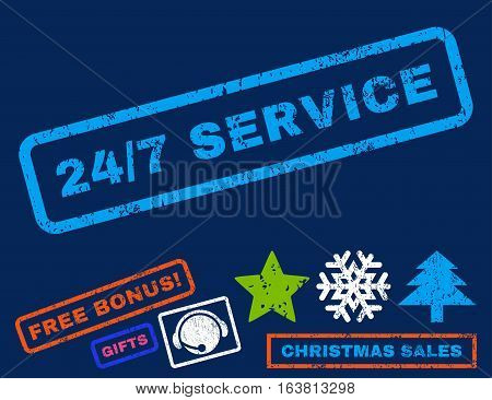 24-7 Service text rubber seal stamp watermark with bonus christmas symbols. Tag inside rectangular shape with grunge design and dust texture.