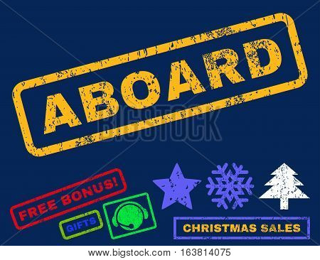 Aboard text rubber seal stamp watermark with additional bonus new year symbols. Caption inside rectangular shape with grunge design and unclean texture.