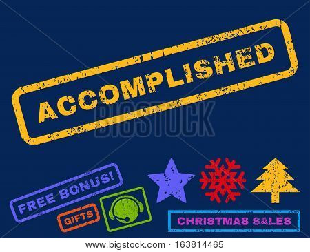Accomplished text rubber seal stamp watermark with bonus new year symbols. Tag inside rectangular shape with grunge design and unclean texture.