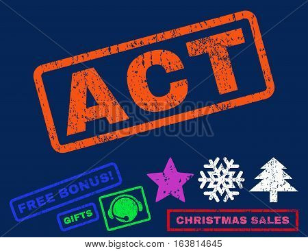 Act text rubber seal stamp watermark with additional bonus christmas symbols. Tag inside rectangular shape with grunge design and dust texture.