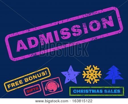 Admission text rubber seal stamp watermark with additional bonus christmas symbols. Caption inside rectangular banner with grunge design and unclean texture.