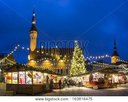Christmas market in the old town of Tallinn Estonia
