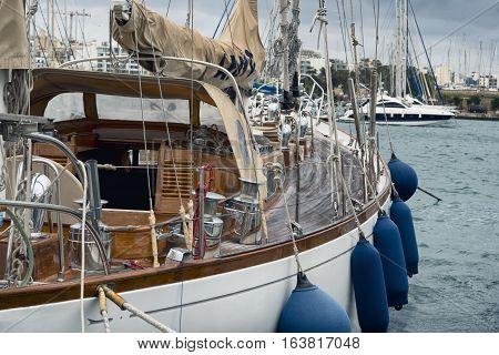 Sail boat moored at the marina in Sliema Malta