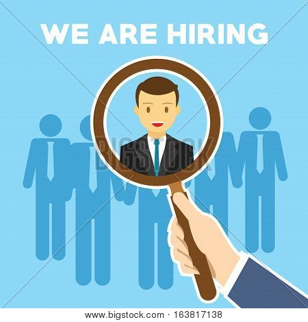 we are hiring search employee illustration vector design