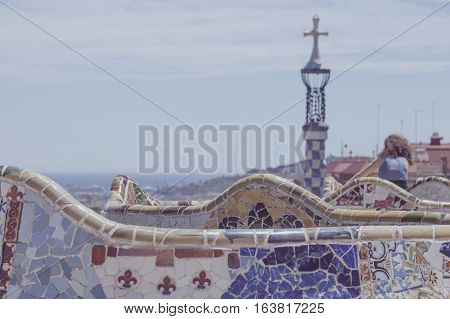 Vintage Park Guell View In Barcelona