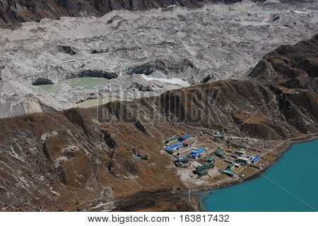 Travel destination in the Everest National Park Nepal. Ngozumpa glacier and lodges in Gokyo.