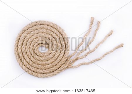 top view of rope with unraveled end isolated on white background