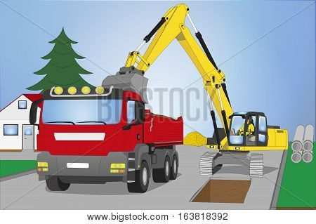 Roadworks with red Truck and yellow Chain Dredger