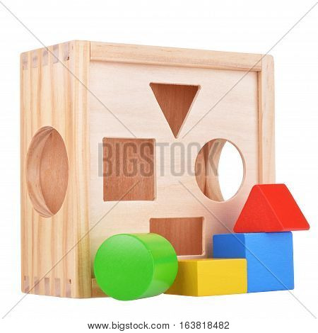 Wooden logic game box with figures isolated on white with clipping path
