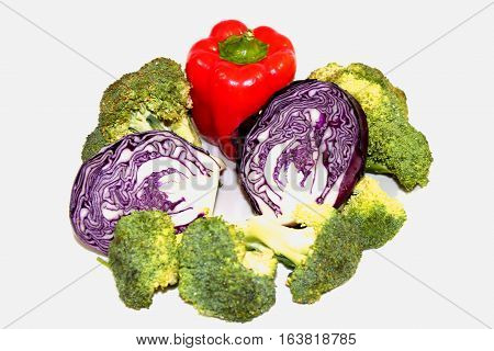 Vegetables. Vegetables: broccoli, cauliflower and paprika give a bright combination. These vegetables very delicious and useful.