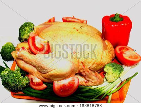 Chicken with vegetables. Chicken cooked with vegetables for the holiday, will bring great pleasure to guests.