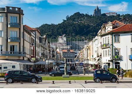 VIANA DO CASTELO PORTUGAL - SEPTEMBER 22 2016: The center of Viana do Castelo Minho region Portugal. During the dictatorial regime Viana do Castelo was one important port of the cod fisheries.