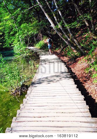Wooden footpath in Plitvice Lakes National Park.
