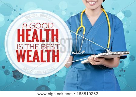 Smile Female Doctor With Blurry Blue Glitter Point To Text: A Good Health Is The Best Wealth
