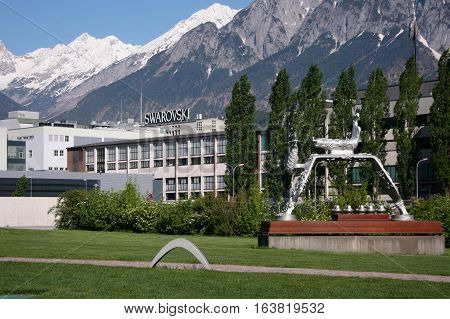 WATTENS AUSTRIA - 07 May 2009: Swarovski Corporation headquarter. Company is traditional producer cut crystal and was founded by in 1895.