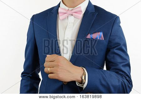 Man In Blue Suit Bowtie, Pocket Square