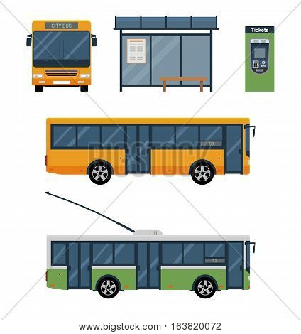 Flat style concept of public transport. Set of city trolley bus, bus with front and side view, bus stop and ticket machine. Isolated vector illustration.
