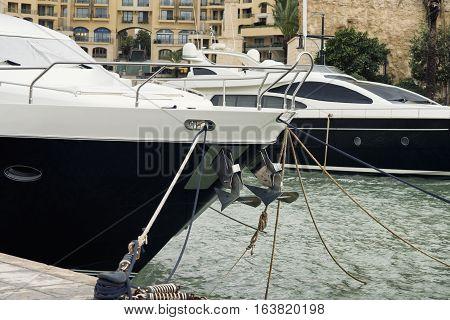 Super yachts moored at Portomaso Marina, St Julian, Malta