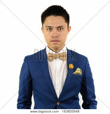 Asian Man In Blue Suit Bowtie, Brooch