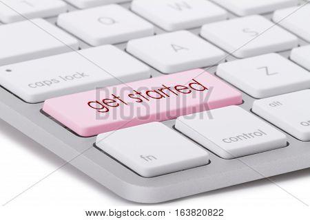 Get started word written on computer keyboard.
