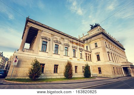 Facade Of Austrian Parliament Building In Vienna, Austria