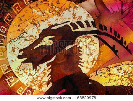 Capricorn hot batik background orange and red texture handmade on silk abstract surrealism art
