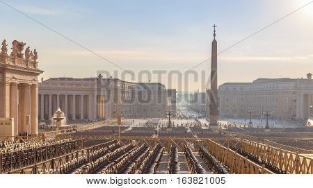 View Of St. Peter's Square And The Obelisk Of The Vatican