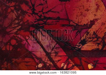 Abstraction, Hot Batik, Background Orange And Red Texture, Handmade On Silk, Abstract Surrealism Art