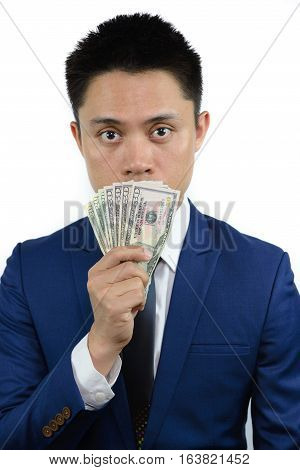 Asian Man With Money Cover Mouth, Note