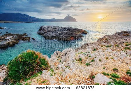 Spring panorama of sea coast city Trapany. Sicily, Italy