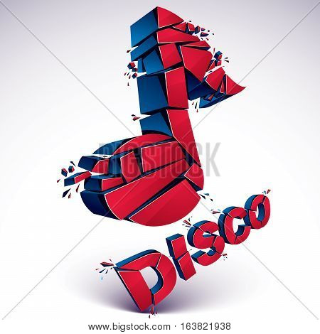 Red 3D Vector Musical Note Broken Into Pieces, Explosion Effect. Dimensional Art Melody Symbol, Disc