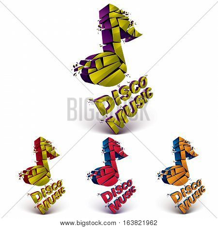 Green And Red 3D Vector Musical Notes Broken Into Pieces, Explosion Effect. Disco Music Theme Dimens