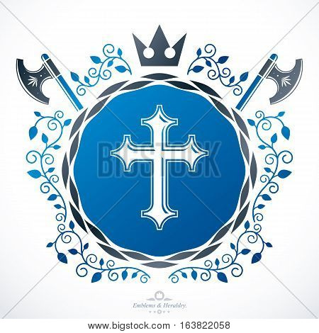 Heraldic sign created with  vector vintage elements like religious cross and royal crown