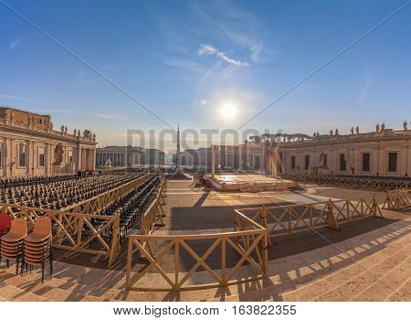 View Of St. Peter's Square And The Obelisk Of The Vatican From The Cathedral