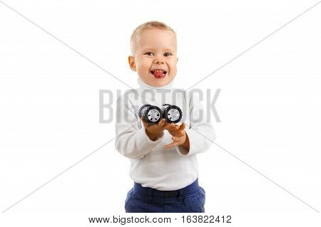Happy Baby Boy Holding A Toy Car Playing Toy Car