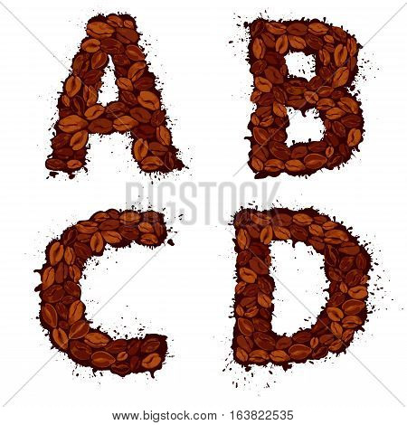 ABCD english alphabet letters made of coffee beans in grunge style isolated on white background