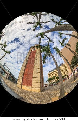 Fish eye view of the Clock Tower also named Former Kowloon-Canton Railway Clock Tower, a popular landmark in Tsim Sha Tsui in Kowloon, near Hong Kong Cultural Centre.