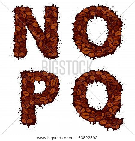 NOPQ english alphabet letters made of coffee beans in grunge style isolated on white background