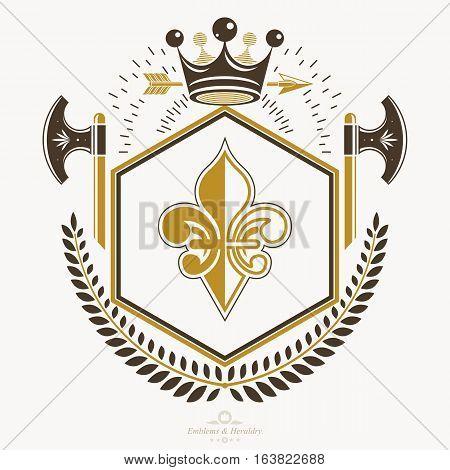Vintage vector emblem  created in heraldry design