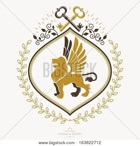 Vintage decorative heraldic vector emblem composed with gryphon and security keys