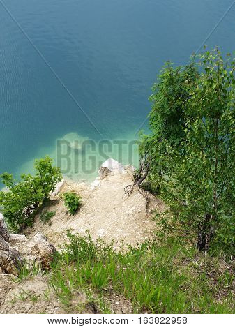 lake shore with beattiful blue water, sumer landscape