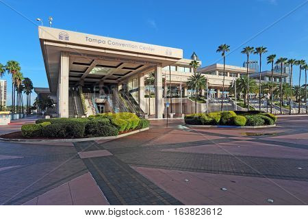 TAMPA FLORIDA - AUGUST 1 2016: The main entrance to the Tampa Convention Center. This mid-sized facility at the mouth of the Hillsborough River opened in 1990 and hosts over 300 events per year.