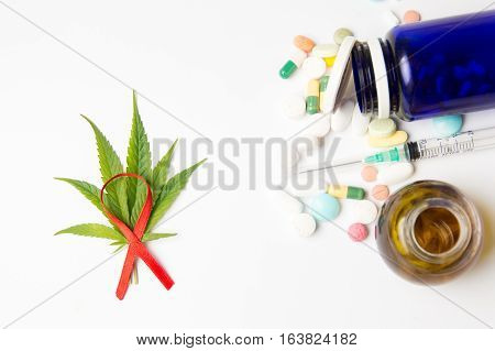 Marijuana Leafs, Fight Cancer Sign And Medicaments