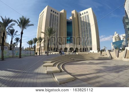 BEER SHEVA ISRAEL - DECEMBER 24 2016: Modern building of civil and criminal court in Beer Sheva
