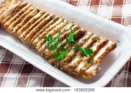 Marinated Bacon Sliced, Marinated Fresh Fat With Spices