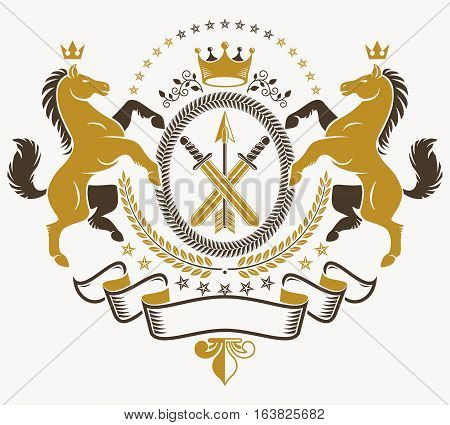 Classy emblem vector heraldic Coat of Arms created with horses illustration and royal crowns and armory