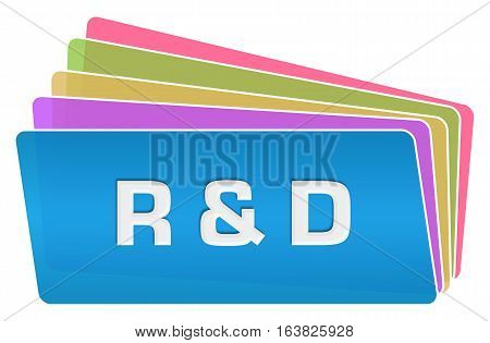 R and D text written over blue colorful background.