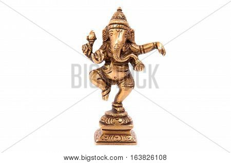Indian God Ganesha made of metal on a white background